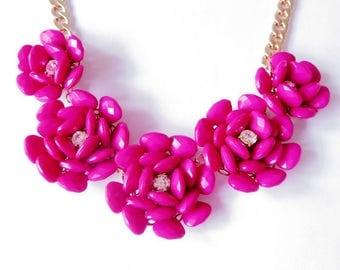 Hot Pink Rose Flower Necklace Statement Beads Bib Necklace