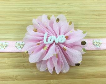 Valentines Heart Headband, Love Heart Elastic,  Love, Pink Ballerina Flower, Girls Headband, Newborn Headband, Gift for Girl, Valentines day