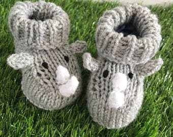Rhino knitted baby booties baby shoes knit baby socks baby girl baby boy baby shower gift handmade booties new born gift