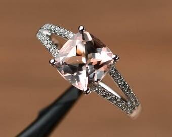 natural morganite ring cushion cut gemstone promise sterling silver ring pink gemstone ring