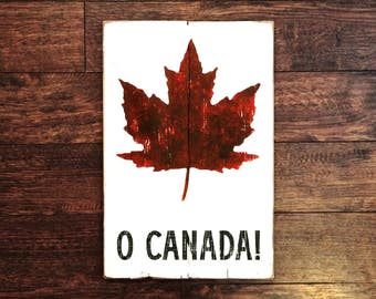 Aged O Canada Sign | Black and Red on White Distressed | Maple Leaf Wood Sign
