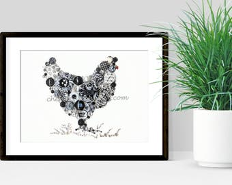 CHICKEN in GRASS (2 choices) 5x7-  Button Art, Button Artwork, farm art, rooster, Swarovski, rhinestones, buttons, diy, ooak, USA