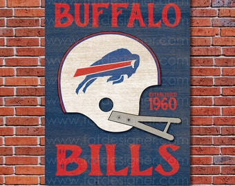 Buffalo Bills - Vintage Helmet - Art Print - Perfect for Mancave