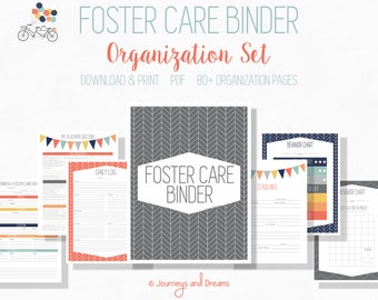 Foster Care Organization Binder . 80+ Pages! .  8.5x11 . PRINTABLE . DIGITAL DOWNLOAD . Original Party Series
