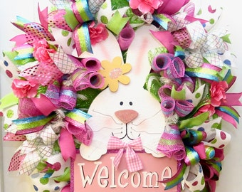 Easter Wreath, Easter Bunny Wreath, Easter wreath for Front Door, Deco Mesh Easter Wreath, Spring Wreath, Easter Decoration, Welcome Wreath