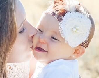 Baby Girl Headband- Baby Headbands- Leopard Print Headband- Flower Headband- Flower girl Headband- Newborn Headband- Photo Prop- Brown