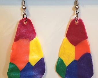 Polymer Clay Dangling Rainbow Earrings