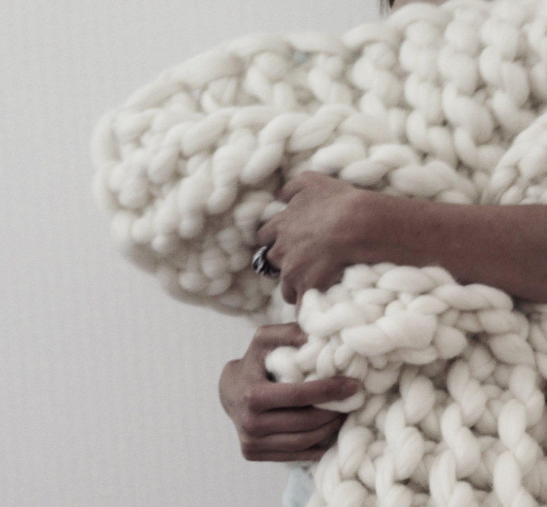 Extreme Knitting Blanket Pattern : PROMO Price 30x50 Chunky Knit Blanket Merino Wool blanket