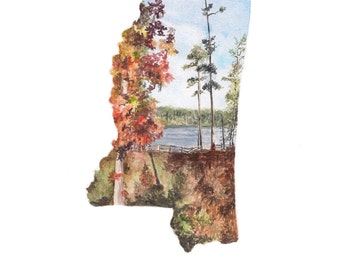 Mississippi PRINT - Mississippi Map - Mississippi Wall Art - US Map Art - Unique Map - Watercolor Map Art - Mississippi State Art