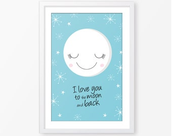 Love you to the moon,kids poster,kids room decor,baby poster,nursery wall decor,nursery poster,baby boy poster,moon poster,kids quote