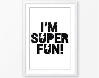 Typography kids poster,superhero poster,boys room decor,kids poster,baby boy nursery decor,instant download,black and white, digital poster