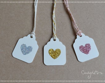 Tags for wedding favors ivory-wedding label-small labels-heart gold-pink-silver