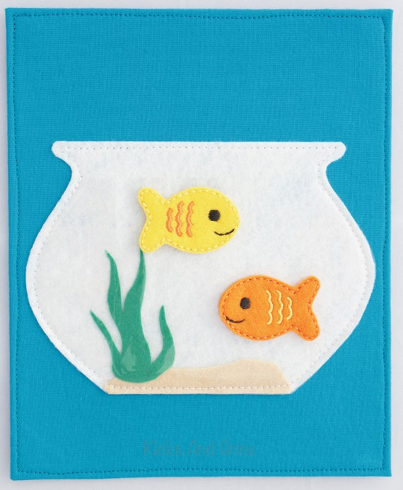 Fish bowl quiet book page fish quiet book page quiet book for Book with fish bowl on cover