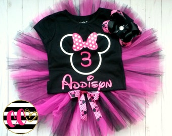 girls minnie mouse birthday outfit. first birthday outfit. third birthday set.  cake smash outfit. birthday set, pink and black