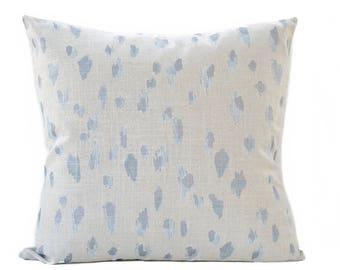 Leopard linen pillow cover - Light blue and beige pillow - Cheetah pillow - Animal print pillow