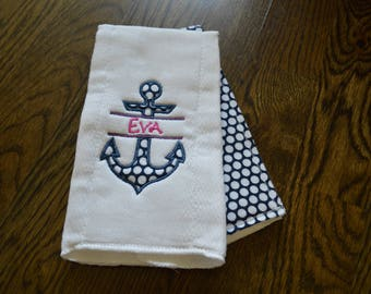Burp Cloths-Set of 2-1 Personalized Anchors Away and 1 Navy and White Polka Dot