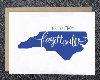 Notecard - Hello from Fayetteville Note Card, Fayetteville Greeting Card, Hello Fayetteville, NC