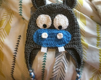 Hippo Hat // Crochet Hippo Hat // Hippopotamus Hat // Made to Order