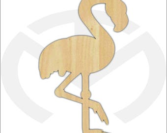 Unfinished Wood Flamingo Laser Cutout, Wreath Accent, Door Hanger, Ready to Paint & Personalize, Various Sizes