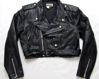 Vintage 1980s Contempo Casuals Women's Black Leather Motorcycle Jacket ~ size L ~ Biker ~ Cropped