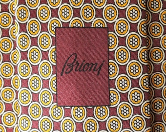 Brioni Tie Pure Silk Floral Geometric Pattern Brown Vintage Designer Dress Necktie Made In Italy