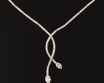 14k White Gold Diamond Necklace 22 gm Estate Jewelry Ladies Appraised 7500