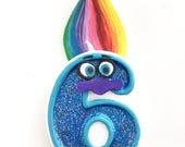Trolls Inspired Birthday Candle/ Number Candle + hand painted Trolls hair + hand painted eyes and nose /Birthday Candles