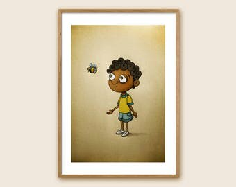 "Art Print - Children's Illustration - ""Conversations with a Bumblebee II"""