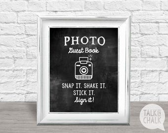 Photo Guest Book Sign - Printable Chalkboard Style Sign, Guest Book sign for Wedding, Baby Shower, Sweet Sixteen or Bridal Party