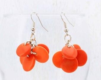 Orange Earrings - Cool Earrings - Tagua Nut - Statement Earrings - Exotic Earrings - Fair Trade Jewelry - Eco Friendly Vegetable Ivory 3520