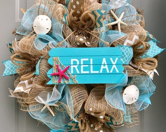 Relax Beach Burlap Deco Mesh Wreath with Sea Shells, Seashell Wreath, Beach Wreath, Starfish Wreath