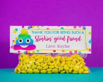 Emoji Party Favor Bag Topper INSTANT DOWNLOAD - Rainbow Poop Emoji Party Pooper Treat Bag by Printable Studio