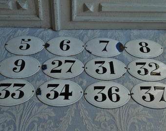 House numbers, French black and white enamel large house number authentic 1930's hotel room various Nos available industrial loft Parisienne