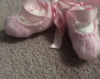Knitted baby ballet slippers