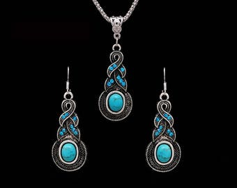 Vintage necklace and earrings in Tibetan style. Very beautiful necklace
