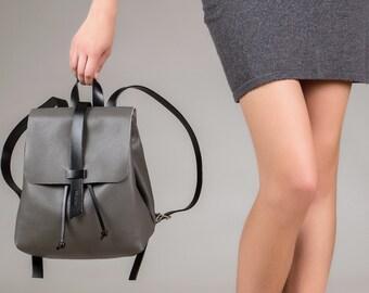 Leather backpack, backpack leather, leather backpack bag, backpack women, backpack purse, laptop backpack, leather rucksack, grey backpack