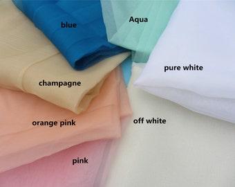 Aqua silk Organza by the yard-5.5 Momme ,white organza,blue,pink,blue