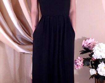 Black Maxi Dress V Neck Sleeveless Pockets