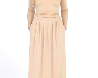 Sand  Women's Maxi Dress Long Sleeves V-Neck Pockets