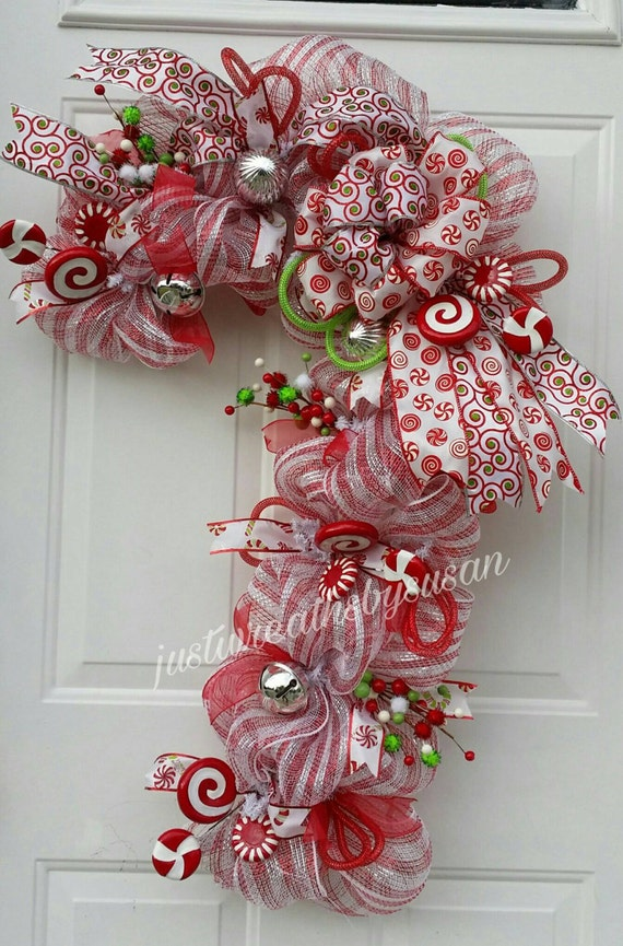 Items Similar To Candy Cane Wreath Candy Cane Deco Mesh