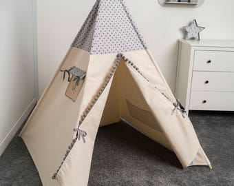 children teepee tent, kids play tent, tipi, teepee tent, tente de teepee, tipi pour enfant, indian wigwam little grey stars