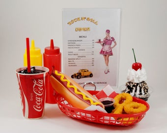 fake food diner car hop hot dog meal with personalized menu FREE SHIP