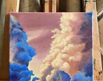 cloud painting, original acrylic painting, sunset cloud painting, sky painting