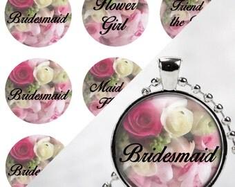 INSTANT DOWNLOAD- Wedding, Bridal Party 4x6 Digital Printable 1 Inch Circle Bottle Cap Images