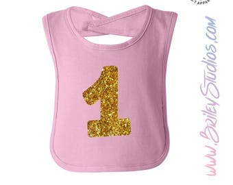 "Glitter ""1st"" First Birthday Party Infant Bib for Smash Cake, One, Keepsake, Birthday Gift for Baby"