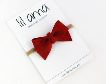 Burnt Red Bow Headband - Baby Bow - Baby Headband - Suede Leather Bow - Newborn Headband - Infant Headband - Hair Bow - Red Hair Bow