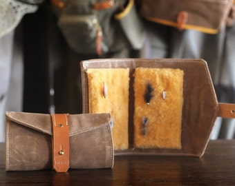 Waxed Canvas, Leather and Shearling Fly Fishing Streamer Wallet