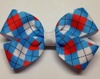 """Cat in the Hat Dr Suess Red White Blue Theme Argyle 3"""" Hair Bow Alligator Clip"""