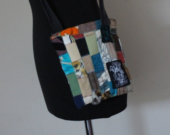 Small handmade patchwork bag with zip fastening