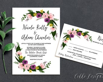Nicole Printable Wedding Invitation (DIY Invitation), Stunning and Colored Floral Invitation